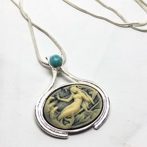 Jewelry - 🆕Silver & Turquoise Mermaid Cameo Necklace